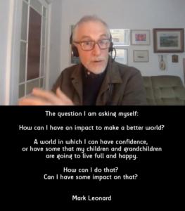 Mark Leonard tijdens webinar, met quote